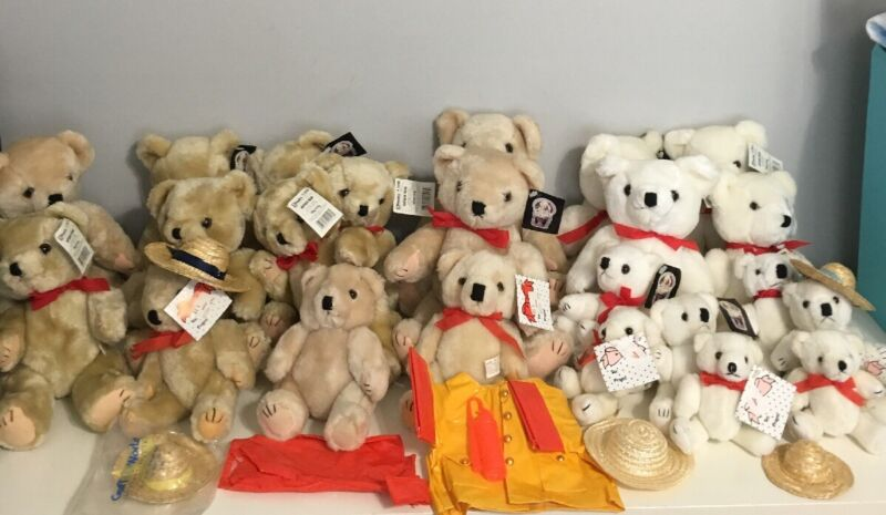 """Lot 23 Craft Bears 5-11"""" Articulated White & Brown Fireman Slickers Boots Hats"""