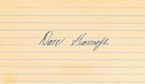 Dave Bancroft- Signed Index Card