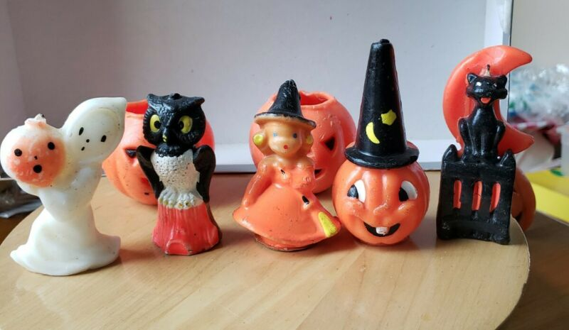 7 Vintage Gurley HALLOWEEN CANDLES - OWL CAT GHOST JACK O LANTERNS WITCH