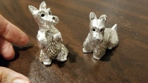 Christofle LUMIERE  2 Scottie dog Figurines silver Plate MINT sittiing standing