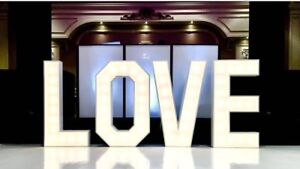"""""""LOVE"""" GIANT WEDDING MARQUEE LETTERS 4ft tall"""