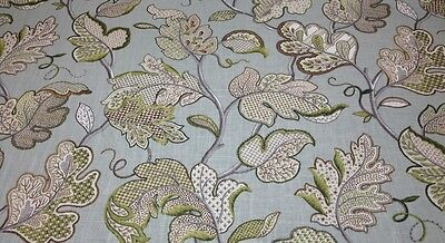 Ballard Designs Felicity Spa Blue Floral Linen Multiuse Fabric By The Yard 54  W