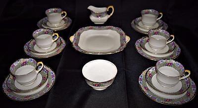 Art Deco~Antique~c1925 Aynsley 21 Piece~Fine English~Bone China~Tea Set for 6~
