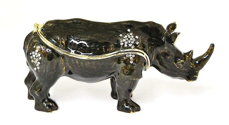 Black Rhino Rhinoceros Hinged Pewter Enamel Lg Trinket Box w Swarovski Crystals