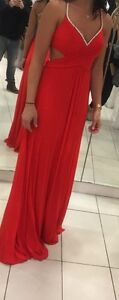 Red evening gown/prom dress with rhinestone straps