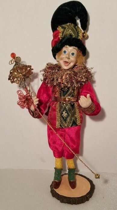 "17"" Christmas Standing Elf with Golden Rod"