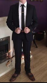 Blue and black faint check 2 piece slim fit suit