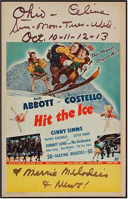 ABBOTT & COSTELLO MOVIE POSTER HIT THE ICE WINDOW CARD