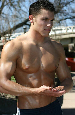 Beefcake Shirtless Male Muscle PHOTO 4X6 Pinup Pic Smooth Chest Biceps Cute P73