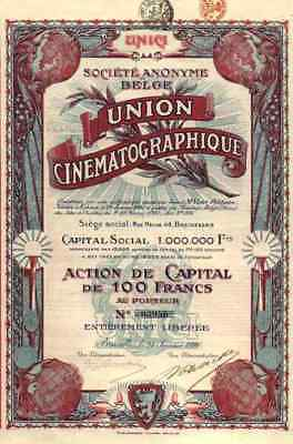 UNION Cinematographique dekorative KINO Aktie 1920 rot Titres Anciens 100 Francs