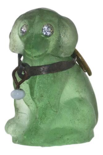 Antique CZECH Glass CRACKERJACK Cracker Jack Charm Dog Green 2cm