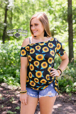 You Are My Sunshine Off Shoulder Knot Top by Crazy Train - Sunflower - NWT S-2X](You Are Sunshine)