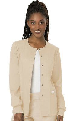 Cherokee Workwear Scrubs Snap Front Warm Up Jacket WW310 KAK Khaki Free Shipping