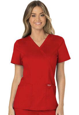 Cherokee Workwear Scrubs Mock Wrap Top WW610 RED Red Free Shipping