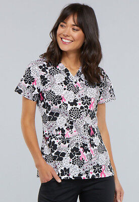Breast Cancer Scrub Tops (Cherokee Breast Cancer Awareness Scrub (Paisley Love)  Print CK616-PYLV )