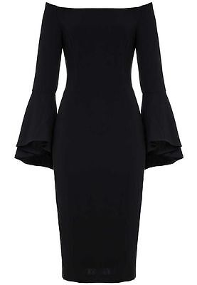 BARDOT Black Sexy Off the Shoulder Bell Sleeve Solange Milly LBD Midi Dress 8 M