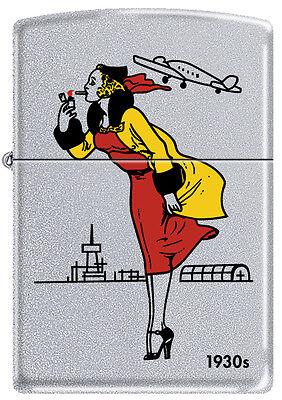 Zippo 1930s Windy Girl Satin Chrome Windproof Lighter VERY RARE HARD TO FIND