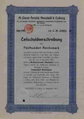 Max Oscar Arnold MOA Werke 1927 Neustadt Coburg Herzogtum 500 RM RARE Ausgabe