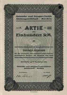 Getreide Dünger Credit AG 1938 Meissen Niedersedlitz Sachsen Naumann & Ritschel
