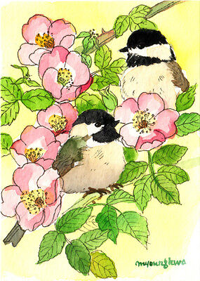 "Art print 2.5""x3.5""- Joyful time in rose scent, Gift idea for bird lovers"
