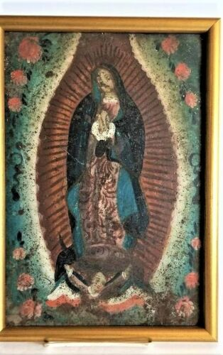 Antique 1850's Spanish Colonial Hand Painted Retable Our Lady of Guadalupe Gold