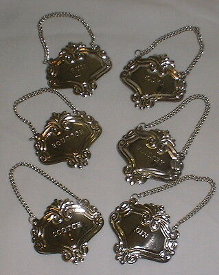 6 Silver Ornate Liquor Bottle Decanter Tags Labels Set Gift Boxed