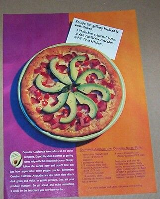 2000 print ad - California Avocados - Avocado & Canadian Bacon pizza recipe - Canadian Bacon Pizza