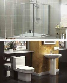 Bathroom suite with shower enclosure
