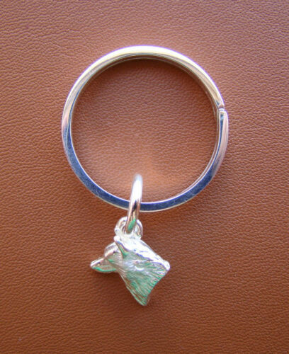 Sterling Silver Siberian Husky Head Study Key Ring