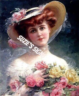 Victorian Woman Fabric Block Rose Bouquet ()
