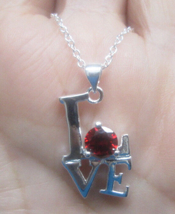 Sterling Silver LOVE Necklace with Red Crystal