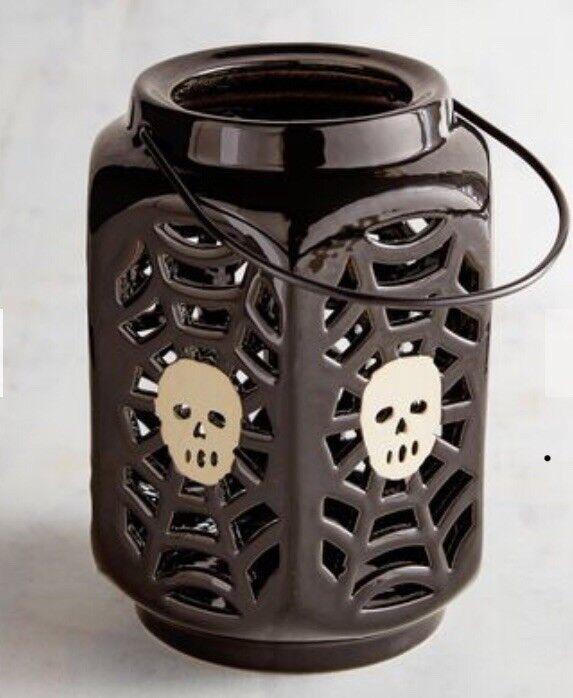Pier 1 Black SPIDERWEB SKELETON SKULL Ceramic Lantern Candle Holder HALLOWEEN