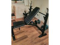 Weights bench with 10kg bar