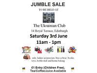 Jumble Sale: Sat 3rd June 11am - 1pm at Edinburgh Ukrainian Club, Royal Terrace