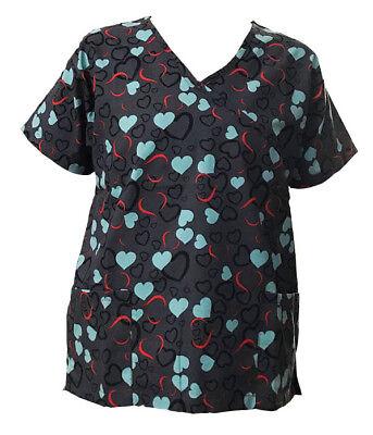 - Women's Fashion Nursing Scrub Tops Printed Medical Uniforms Gray With Hearts XL