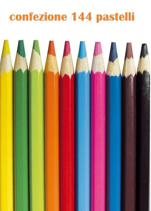 Set 144 Pezzi Pastelli Colorati Punta Spessa Disegni Colori Bambini Scuola dfh