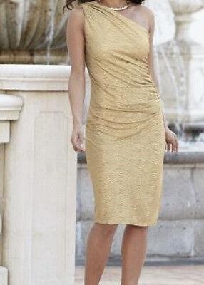 Plus Sz 24W Lola Dress By Midnight Velvet Gold One Shoulder Dress New