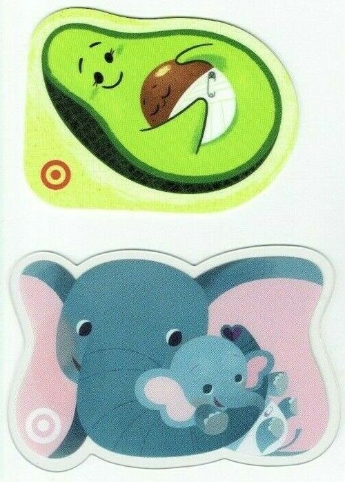 TARGET Gift Card Die-Cut LOT Of 2 Avocado Baby Mom W/ Baby Elephant - No Value - $1.49