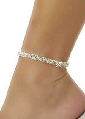 2 Row Crystal Rhinestone Clear CZ Anklet Jewelry 9 Inches