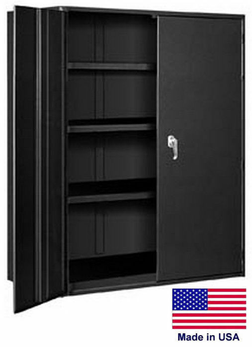 Storage Cabinet Commercial/indl - 12 Gauge Steel - 4 Shelf - Black - 78x36x19  P
