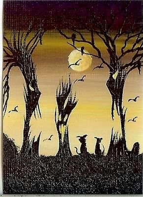 Spooky Halloween Forest (ACEO GLOSSY PRINT Spooky Forest Black Cats Halloween Moon Whimsical Print)
