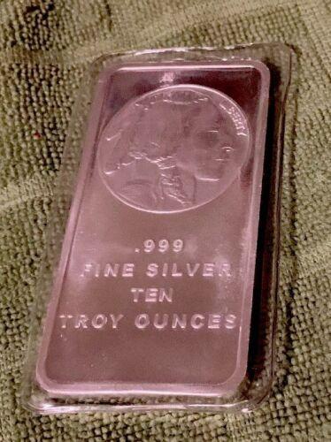 10 Troy oz .999 Silver Bar American Indian - Buffalo Design