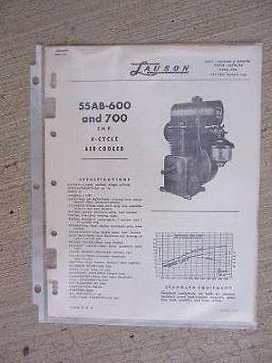 1956 Lauson Engine Parts Catalog List 55ab-600 700 2 Hp 4 Cycle Air Cooled J