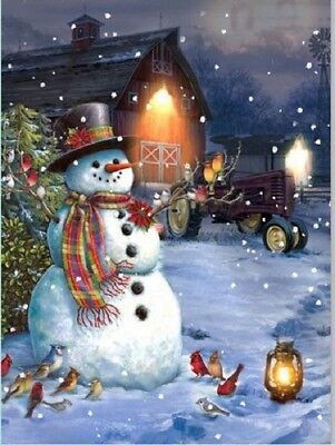 Snowman Country Scene Photo on Canvas w Led Lights Wall Art Christmas Decor