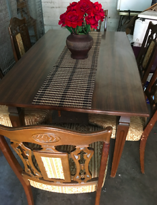 Wooden extendable table & 6 chairs Burwood Burwood Area Preview