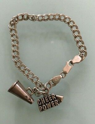 .925 Sterling Silver  Power Cheer And Megaphone Cheerleader Charms And Bracelet