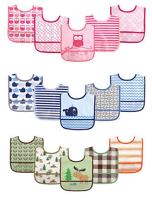 Luvable Friends - Boys & Girls Cute Designs Waterproof 5 Pack Bibs