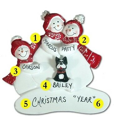 Personalized Snowman Family of 3 with a Dog or Cat Christmas Ornament