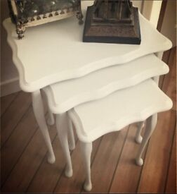 Set Of Three Upcycled White Tables