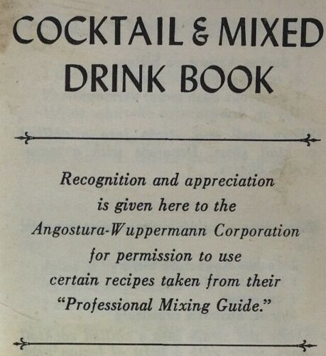 1964 Cocktail & Mixed Drink Pocket Book 144 pg Cocktail Recipes Missing Cover
